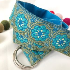 Green and Blue Floral Fabric Belt